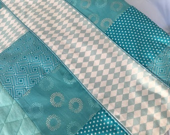 Baby blanket blue and silver