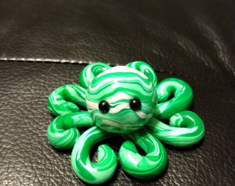 Green/White Polymer Clay Octopus