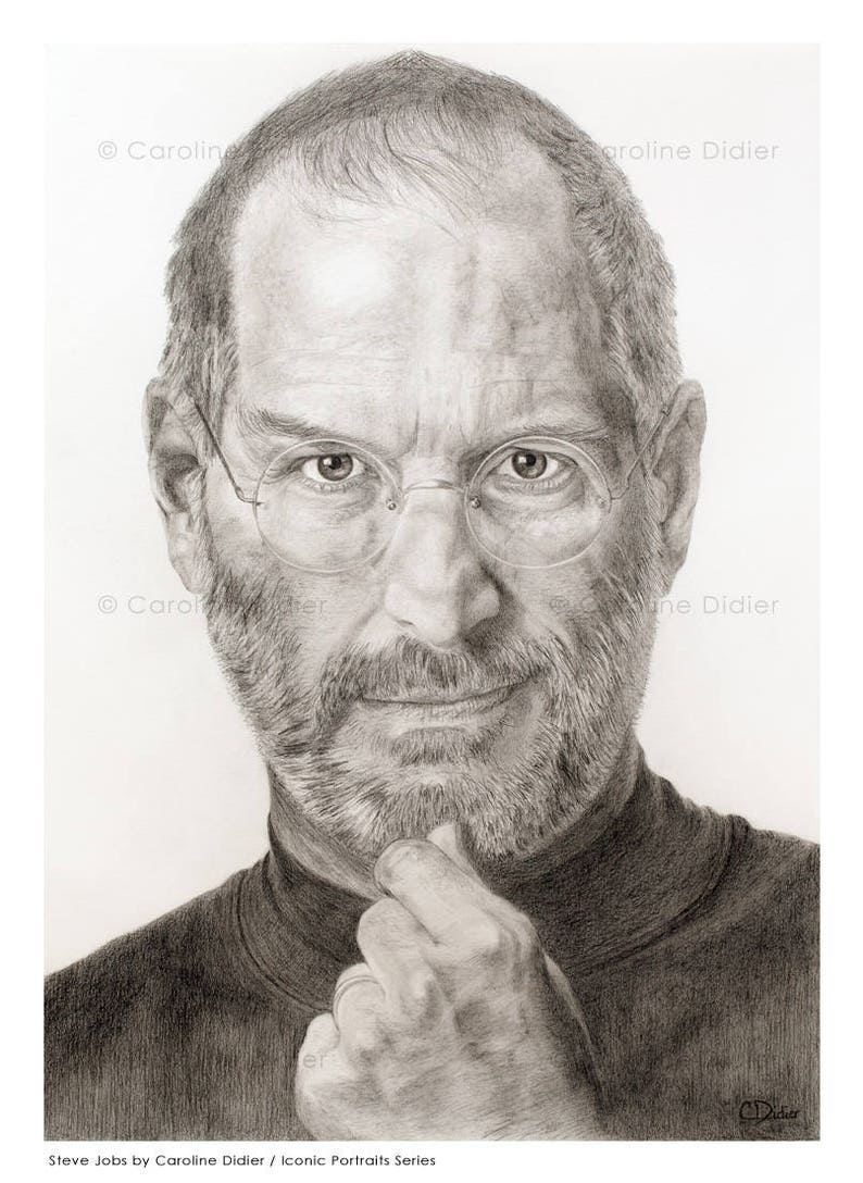 Steve jobs drawing limited edition iconic portraits art etsy