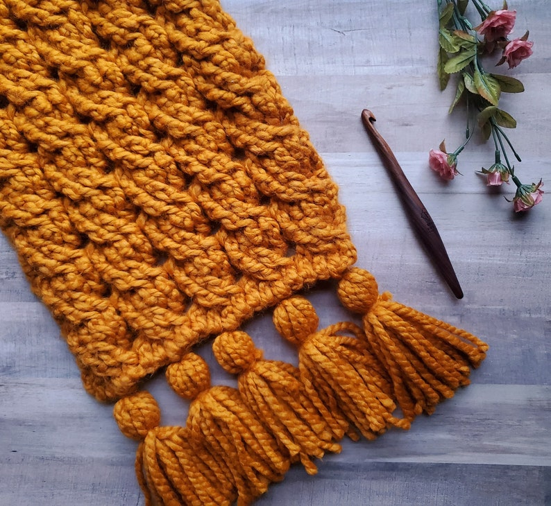 Gemini: Oversized Cable Scarf Pattern// Bulky Crochet Scarf image 0