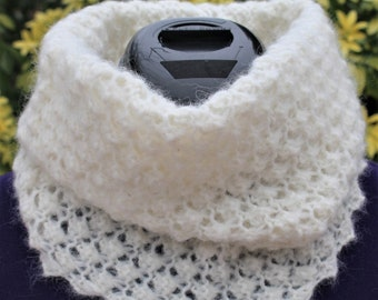 Col snood laine, cache cou tricot, col roulé fait main, col écharpe, cache  col amovible, tour de cou, chauffe cou alpaga naturel   blanc 89bf40826aa
