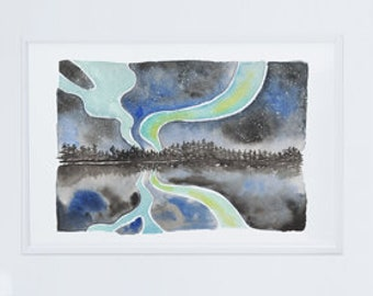 "Iceland Northern Lights Souvenir Print 8 x 10"""