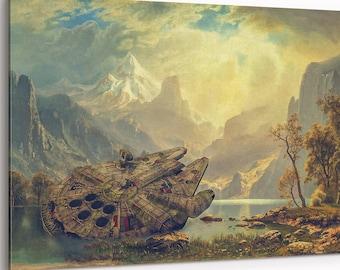 Millennium Falcon  | Star Wars Wall Art | Wall art on canvas | extra large canvas | Star Wars gift | canvas print | Star Wars Mural | S-XXL