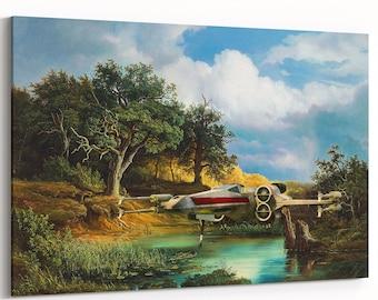 X Fighter Print | art on canvas | Star Wars painting | print on canvas | Star Wars Fan Art | X Fighter canvas