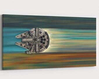 Millennium Falcon Panorama | Star Wars Wall Art | Wall art on canvas | extra large canvas | Star Wars gift | Star Wars Mural |