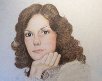 Colored Pencil drawing of Karen Carpenter  size 11x14
