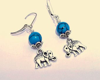 Elephant Earrings Turquoise Dangle Earrings Elephant Charm Turquoise Stone Earrings Turquoise Silver Earrings Drop Turquoise Earrings