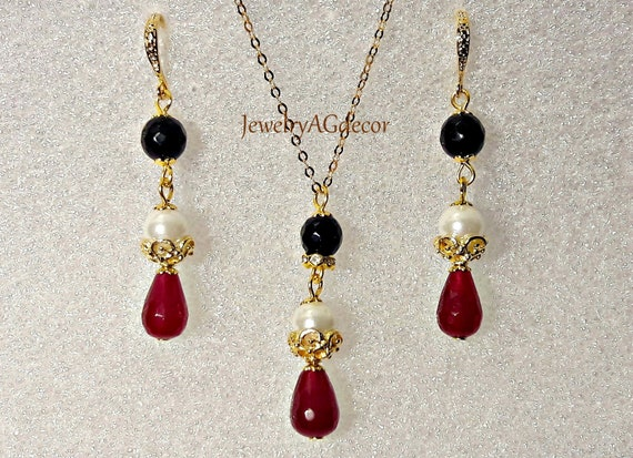 Ruby And Pearl Earrings Necklace Red White Black Jewelry Set Etsy
