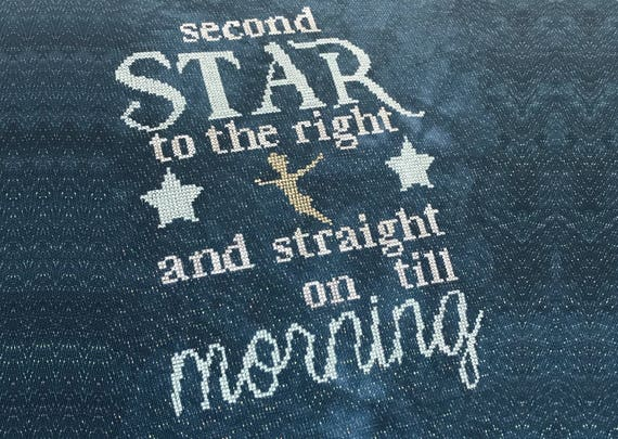 Second Star To The Right Cross Stitch Pdf Chart Quote From Etsy