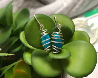 Spiral Wrapped Turquoise Earrings