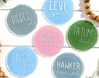 name announcement sign, acrylic baby name round, acrylic circle name sign, newborn announcement, hospital announcement