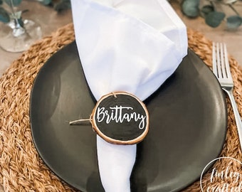 personalized set of wood napkin rings, wood slice napkin rings, thanksgiving napkin rings, table decor, place card, wooden napkin ring