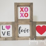 Valentine's Day wood sign tiered tray decor, farmhouse mini sign decor, be mine xoxo love heart wooden sign for tray