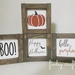 fall halloween tiered tray mini wood signs for vignette, hello pumpkin happy halloween boo mini wood signs holiday decor, fall farmhouse