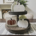 chippy white pumpkin, tiered tray pumpkin, distressed neutral fall decor pumpkins, halloween decor, farmhouse fall decor