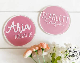 acrylic name announcement sign, baby name round, acrylic round name sign, newborn announcement, hospital announcement