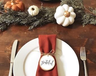 set of wood napkin rings, wood slice napkin rings, Thanksgiving napkin rings, Thanksgiving table decor, Thanksgiving place card