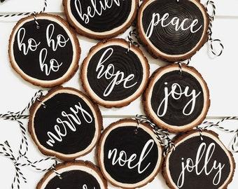 Wood Slice Ornament, Set of Ornaments, Farmhouse Ornaments, Black and White Ornaments, Modern Farmhouse Christmas Tree Ornaments