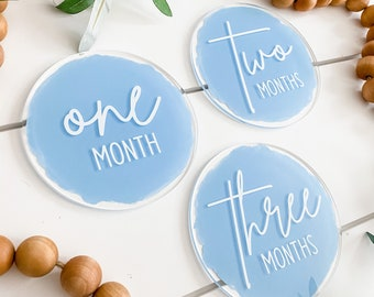Monthly Milestone Markers Acrylic Discs Baby First Year Family Photoshoot Prop Acrylic Round Months Newborn Shower Gift
