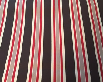 Fabric By The Yard, Beautiful Red/White/Gray/Black Striped,100% Cotton, Machine Washable