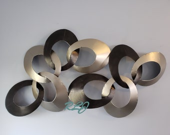 Modern Metal Hanging Circle Wall Art Sculpture Contemporary
