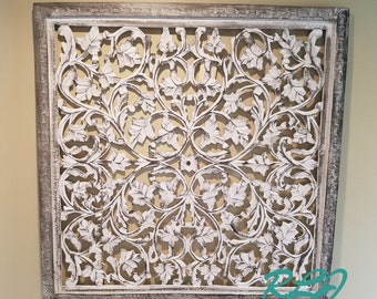 Decorative Tuscan Square Wood Carved Scrolling Lacework Wall Art Panel Home  Decor
