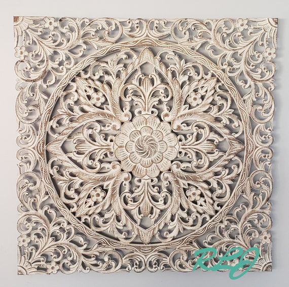 Rustic Elegant Square White Washed Carved Wood Scrolling Lacework Wall Panel Art Plaque Home Decor