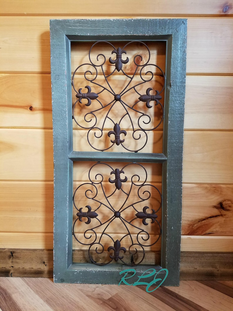 Distressed Rustic French Country Antique Vintage Style Scrolling Wood Metal Wall Art Panel Home Decor