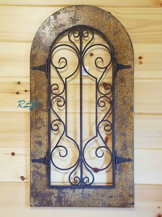 Old World Antique Rustic Scrolling Arched Window Wood Metal Etsy