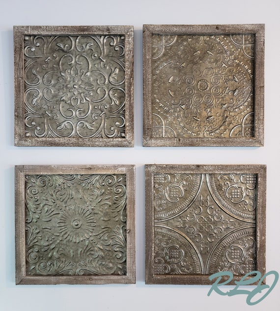 Distressed Rustic Set 4 Textured Embossed Iron Medallion Wood Wall Art Plaques Home Decor