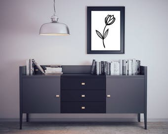 Black and White Tulip Wall Art | Floral Wall Decor | Minimalist Print | Instant Download | Printable PDF | Nikki Chantal Designs