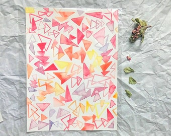 Original Abstract Watercolor Painting / Geometric pattern painting / Triangles wall decor