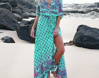 97ea3c1bdaef0 Plus sizes Summer Spring Long Bohemian Beach Dress Women Half Sleeve  Vintage Retro Floral Maxi Dresses Sundress button down