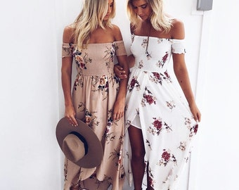 a8066c50c753c Sexy summer boho style off the shoulder beach dress in floral print  available in plus sizes