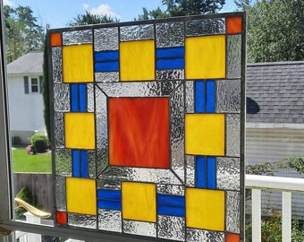 Colorful Modern Geometric Stained Glass Panel- Art Glass-New quilt block design-Orange, Blue & Yellow colors for birthday presents or gifts