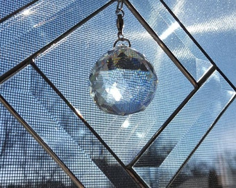 """Clear Diamond Beveled Glass Sun Catcher & Large 1 3/4"""" Prism-Crystal Prism Glass -Make some rainbows with the sun!"""