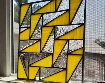 Yellow & clear geometric stained glass panel-Modern falling triangle quilt pattern, mcm or contemporary glass design for wall/window hanging