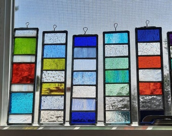 Colorful Strips of Stained Glass-stripes of color for any place in your home or garden-perfect glass accent for windows-great for birthdays