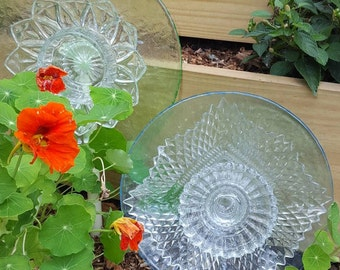 Vintage Glass Plate Flower for your garden beds or flower boxes-Can be used indoors. Made w/ recycled antique glass plates, cups & bowls.