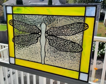 Dragonfly Stained Glass Panel with Brass Overlay Wings-Yellow, Purple, Green, Light Pink or Amethyst Framed Nature inspired window hanging