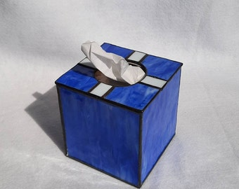 Stained Glass Upright Tissue Box Cover-cover your generic tissue box with a art glass cover that matches your home décor and has style.