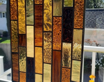 Honey, Gold & Amber Stained Glass Window Hanging, wall hanging art panel is perfect for birthdays, house warming gifts or as a thank you.