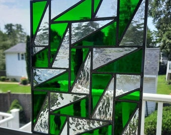 Green & clear geometric stained glass panel-Modern falling triangle quilt pattern, mcm or contemporary glass design for wall/window hanging