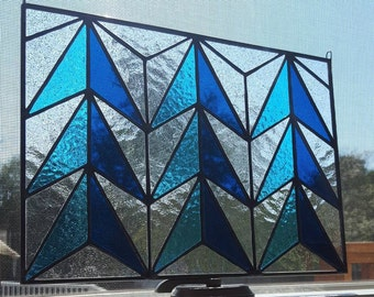 Mid-century Modern Blue & Clear Stained Glass Panel-MCM Art Glass, MCM Stained Glass, Mid-century Modern Window Hanging, Mid-Century