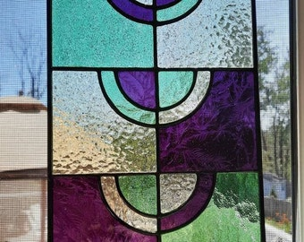 MCM stained glass panel-Mid century modern art glass, contemporary window art for home, Modern window hanging for birthdays or house warming