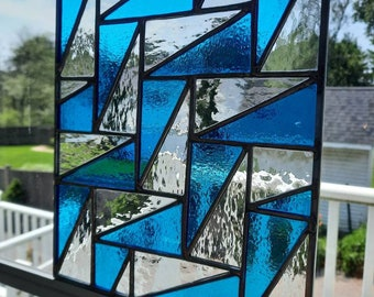 Blue & clear geometric stained glass panel-Modern falling triangle quilt pattern, mcm or contemporary glass design for wall/window hanging
