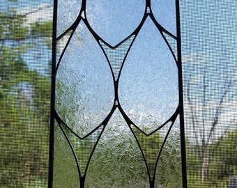 Clear Frosted Leaf Stained Glass Panel-Nature inspired art glass panel perfect for birthdays, house warming, and thank you presents.