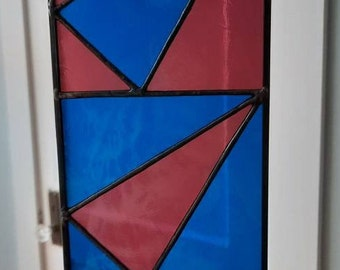 Modern Leaning Triangle Panel-blue and amethyst stained glass-Modern art glass design perfect as a window hanging or against a white wall.