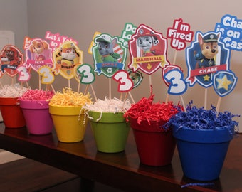 Paw Patrol Centerpiece Set Of 6Paw Birthday DecorationsBirthday DecorationsPaw PartyChaseMarshallRockyRubbleZumaSkye