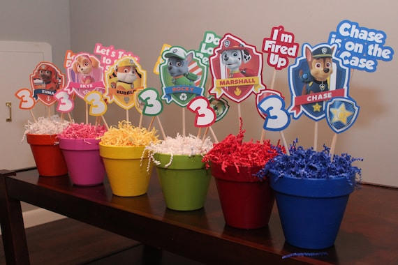 Paw Patrol Centerpiece Set Of 6 Birthday